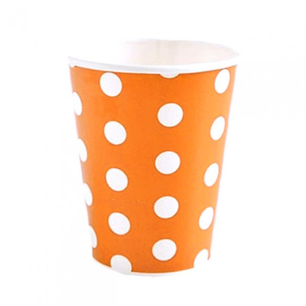Partybecher Orange Punkte Solid Polka Dots
